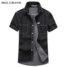 HEE GRAND Men Short Sleeve Summer Demin Shirt 2017 New Arrival Main Cotton Material Pockets Design Shirts Size M-3XL MCS680