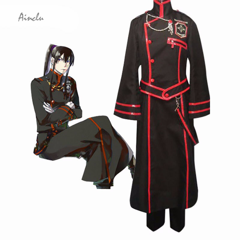 Ainclu Hot Selling Men Costume D.Gray-man Kanda Yuu Cosplay Costume. Sash, Overcoat, Pants,Bag. Adult and Kids Costume