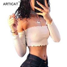 Articat Off Shoulder Long Sleeve T-shirt Women Crop Top 2017 Stringy Selvedge Party Bustier Crop Top Elastic Tube Club Women Top(China)