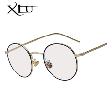 XIU 2018 New Brand Design Plain Glasses Alloy Frame Women Glass Classic Round Clear Lens Spectacles Elegant Vintage Eyewear(China)