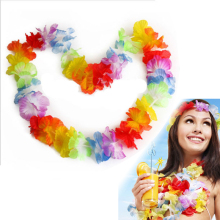 10Pcs NEW Hawaiian Colorful Leis Beach Theme Luau Party Flower Necklace Garlands For Party Decoration(China)