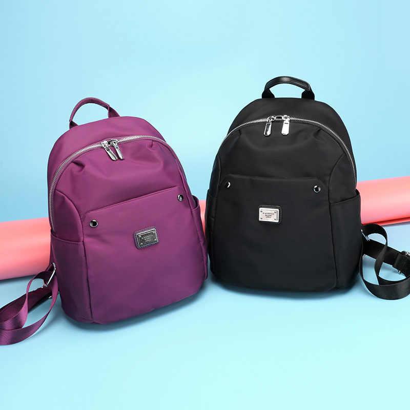 e382b44092 korean style fashion black bagpack girl school backpack nylon shoulder bag  back pack for women 2017