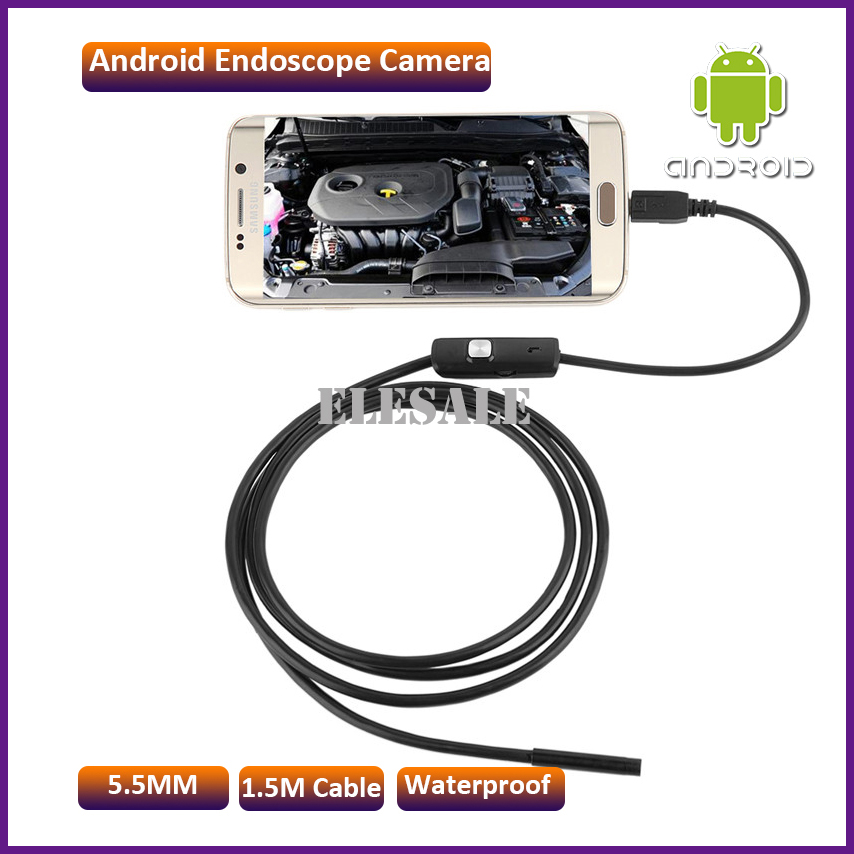5.5mm 1.5M Waterproof Endoscope Camera Module 6LED OTG USB Android Endoscope Inspection Underwater Fishing For Windows PC<br><br>Aliexpress