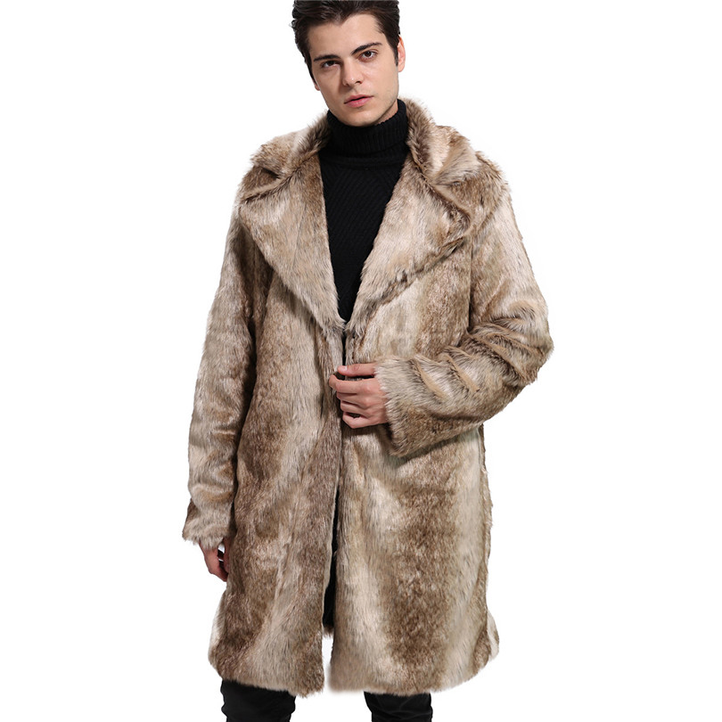 Lanshifei Autumn Winter Jacket Men Thick Long Coat Fur Collar Windproof Jacket Men Plus Size Faux Wolf Fur Coat Man Down Coat