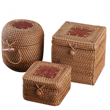 Rattan puerh tea boxes storage box with lid handmade woven wooden organizer sundries Easy lock Spice Containers kitchen deco