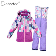 Detector Boy Girl Ski Suit Waterproof Windproof Hooded Jacket and Pant Thermal Little Kid Ski snowboard Bid Children Clothing(China)
