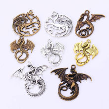 Vintage Metal Dragon Charms Pendant For Jewelry Making Diy Zinc Alloy Animals Dragon Pendant Charms Wholesale 8pcs/lot C8830(China)