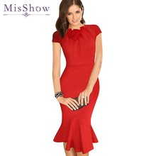 Women Summer Dresses Elegant Slim Fitted Midi Cocktail Party Pencil Dress Wear to Work Office Business Career Dresses Red Black