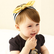 New Fashion Girls Headband Classic Cotton White Black Gold Bowknot Hairbands Girls Headwear Kids Hair Accessories