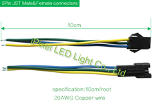 10x 3Pin 10mm wide cable Dual End RGB LED Strip Connector for WS2811 WS2812B(China)