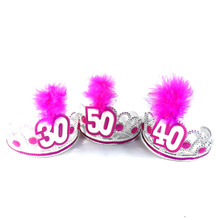 Birthday party tiara pink white feather 50% off if buy 3pcs hair accessories fun adult souvenirs event party supplies