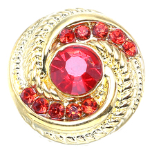 10pcs gold red crystal flower 18mm metal snap Wrist watches button for women bracelet bead