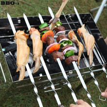 Hot 6pcs 17.5'' 45cm Stainless Steel Skewers Flat Meat BBQ Skewers Outdoor BBQ Barbecue Skewer Roasting Fork Long espeto inox