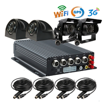 Free Shipping 4 CH I/O SD 3G GPS Track WiFi Mobile Vehicle Car DVR Recorder System + Car Rear View Camera for Duty Car Truck Van