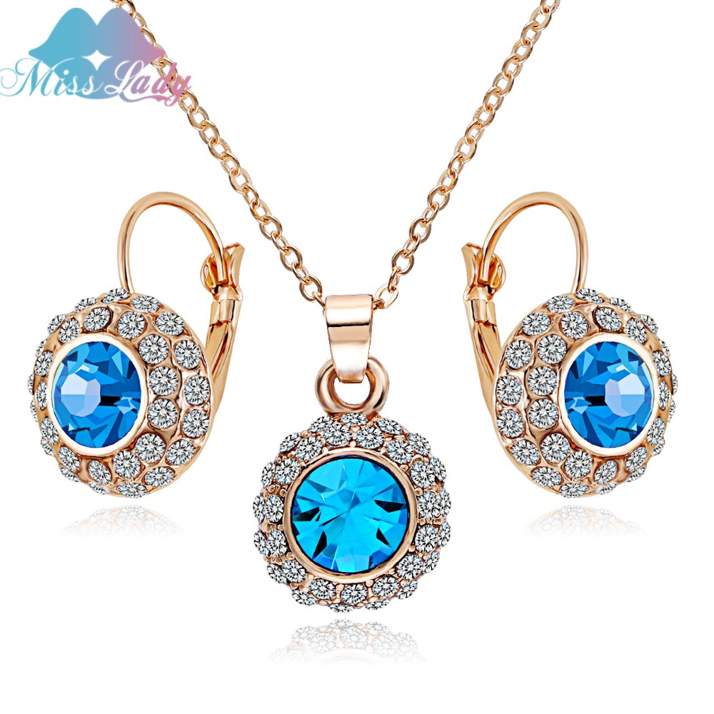 Miss Lady Rhinestone Vintage Moon River Crystal Jewelry Sets necklaces drop earrings Ring Fashion Jewelry for