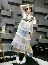 Best Selling Women beautiful look  Short sleeve Summer dress  Sequined rose flower lace patchwork dress , sexy Dress