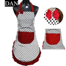 Hot Sale 1 Pieces Cute BowKnot Dot Women Kitchen Restaurant Bib Cooking Aprons With Pocket Gift