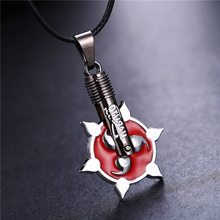 Hot Sale Fashion Anime Naruto Necklace Sliver Red  Magatama Sharingan Alloy Pendant Rope Chain Length Women Men Jewelry Choker