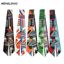 MENGLINXI 2017 Bag Twillies Brand Zebra Striped Headband Handle Bag Ribbon Long Scarves Small Twill Print Silk Scarf For Women