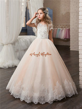 2017 Cheap Blush Pink Flower Girls Dresses Ball Gown Lace Appliques Short Sleeve Little Kids Girls Communion Pageant Dresses