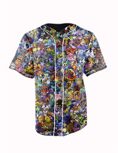 Real American Size  pokemon collage  3D Sublimation Print Custom made Button up baseball jersey plus size