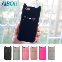 AIBOR Fashion 3D cute cartoon Black beard cat Ear soft silicone case For iphone 8 7 plus 5S se 6 6s plus rubber Coque back cover