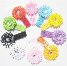 12pcs boutique  Headwear  Hair Accessories 4inch Wave point Daisy flowers with 1.5inch soft Elastic crochet headbands GZ7426