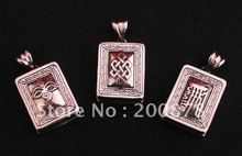 TGB117  Tibetan copper Prayer box,Square lovely GAU amulet amulet pendant KALACHAKRA,Buddhe eye,endless knots