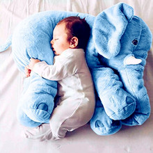 60cm 2017 Large Plush Elephant New Sleeping Back Cushion Elephant Doll PP Cotton Lining Kids Toys Baby Doll Stuffed Animals(China)