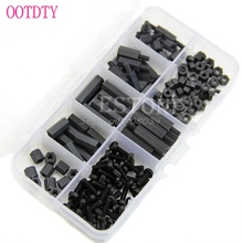 160Pcs M3 Nylon Black M-F Hex Spacers Screw Nut Assortment Kit Stand off Set Box #S018Y# High Quality