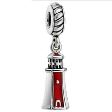 Silver plated Charm Enamel Lighthouse Pendant European Charms Silver Beads For Snake Chain Bracelet DIY Fashion Jewelry(China)