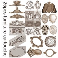 25pcs furniture cartouche 3d model STL relief for cnc STL format cartouche 3d model for cnc stl relief artcam vectric aspire(China)