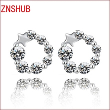 New Fashion female models 925 sterling silver pentacle earrings exquisite inlaid zircon crystal jewelry manufacturer wholesale