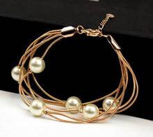 New Year Fashion Elegance Temperament simulated Pearl Golden  Women Beautiful Bracelet Girls Popular Non-fading Jewelry