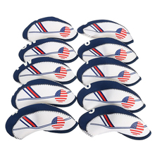 10pcs White and Blue USA Flag Neoprene Golf Club Iron Head Cover Headcover NEW