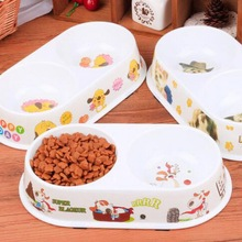 DogLemi 2016 Cute Pet Dog Cat Feeder Double Bowl Dinner Food Drink Supplies Dog Food Bowl Pet tableware