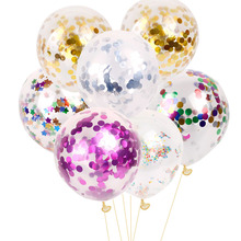 Free shipping 5pcs/lot Creative 12 inches Colorful Sequins Confetti Balloon Christmas Wedding Decoration Birthday Party Supplies(China)