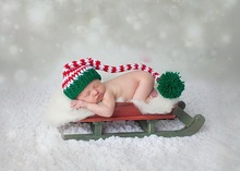 baby Stocking Cap Crochet Baby Candy Cane Elf Christmas Santa Hat Newborn Infant Toddler Girl Boy Flower Photo Prop  NB-3M