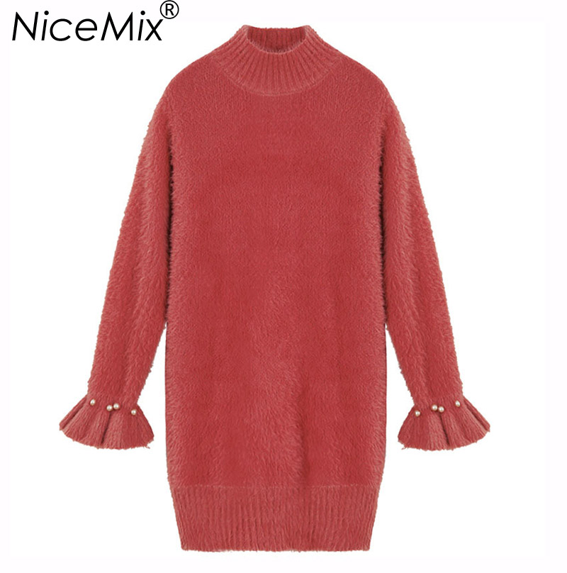 NiceMix 2018 Elegant Sweater Dress Women Pearl Beading Loose Thick Pullovers Female Mohair Knitted Dresses Femme VestidosÎäåæäà è àêñåññóàðû<br><br>