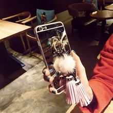 for Samsung Galaxy J1 ACE J3 J5 J7 2015 2016 2017 Prime Emerge Luxury Cute Fur pompoms tassel Korea style soft Mirror case