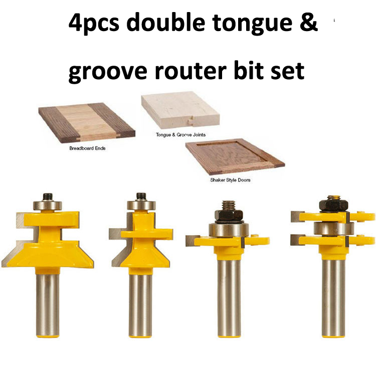 Freeshipping double tongue &amp; groove router bit set 1/2-Inch Shank/4pcs set of mortise knife woodworking puzzle board cutter<br>
