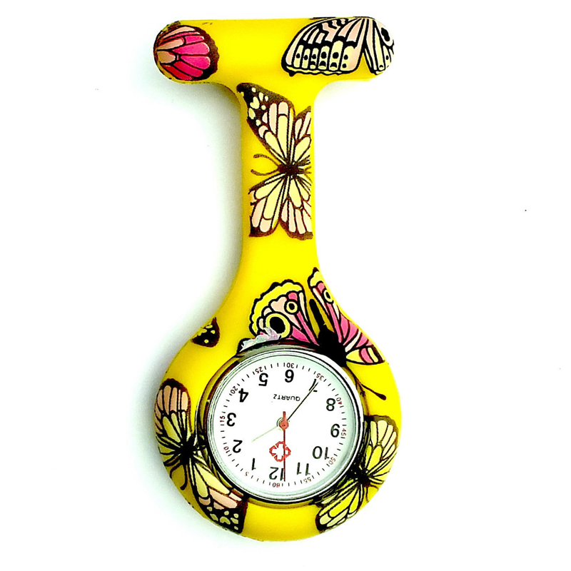 Hot Sale Silicon Nurse FOB Pocket Watch Women Animal Pattern Round Runic Brooch Analog Quartz Pocket Watch Tunic Round Watches