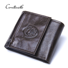 CONTACT'S Genuine Leather Men Wallets Fashion Trifold Purse For Male New Coin Pocket Purses Card Holders Wallet High Quality(China)