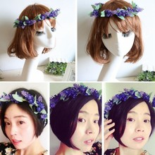 Newest Flower Garland Crown Lavender Headband Hair Band Bridal Festival Holiday Wreath(China)