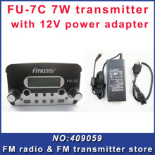 FU-7C 7W broadcast fm radio transmitter silver  with power supply for fm radio station Free Shipping