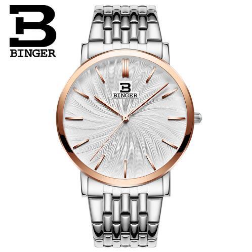 New Switzerland Binger men watches luxury brand quartz full Stainless steel ultrathin Wristwatches Waterproof Rose Gold Watch<br>