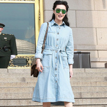 Denim Dress 2016 Summer Classic Full Sleeve Loose Belt Slim Casual Star Daily New Topshop Light Blue Women New New Dress