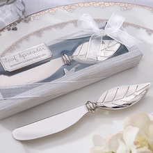 New arrival Chrome Leaf Spreader Butter Cake Knife 24PCS/LOT Bridal Shower Wedding favors and gifts(China)