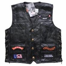 Para Hombre de cuero genuino estilo Retro de la motocicleta chaleco nos  bandera águila de chalecos 13591b24ff84