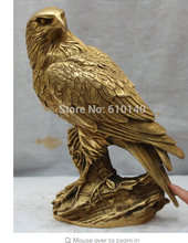 "zmrui Copper Brass CHINESE crafts decor ation Asian 9"" China Chinese Folk Fengshui Brass Animal of birds Hawk Eagle Statue"